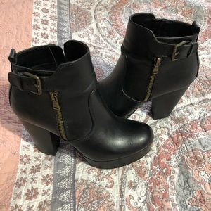 "(2) material girl 5"" heeled ankle boots"